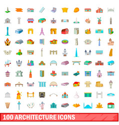 100 architecture icons set cartoon style vector