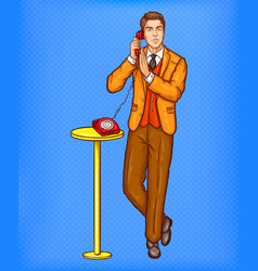 Pop art man talking on a retro phone and covering vector
