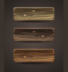 set of wooden icons template wood buttons vector image