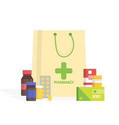 Modern isolated pharmacy and drugstore simple vector