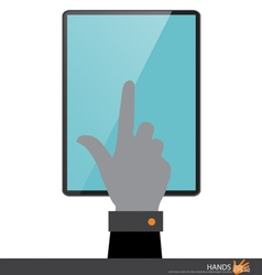 Hand touching on tablet pc vector image
