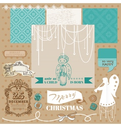 Vintage christmas angel set vector
