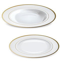 Empty white plates with gold rims vector