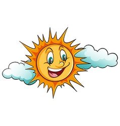 Smiling sun in the sky vector