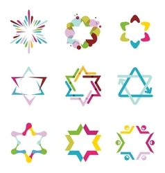 Collection of colorful abstract star icons vector