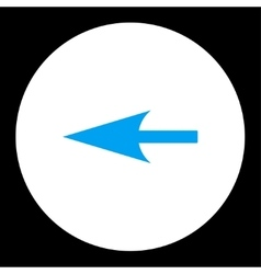 Sharp left arrow flat blue and white colors round vector