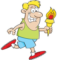 Cartoon man running with a torch vector