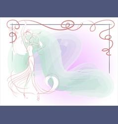 bride bouquet frame vector image