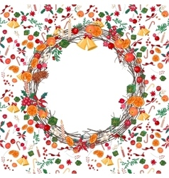 Round festive christmas wreath with fruits vector