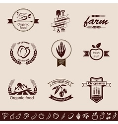 Farm organic food emblems and labels set vector
