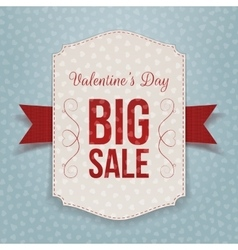 Valentines day big textile banner and red ribbon vector