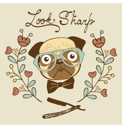 Look sharp hand drawn card with cute french vector