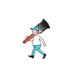 House painter paintbrush walking cartoon vector