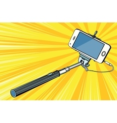 Selfie stick smartphone shooting vector