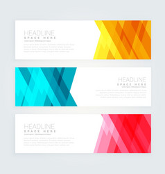 Abstract banners set with geometric shapes vector