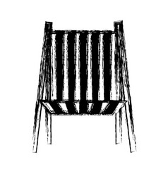 Blurred thick silhouette of beach chair front view vector