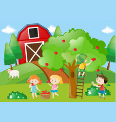 Children picking the apples from the tree vector