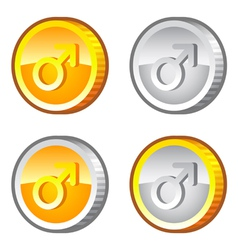 Coins with male sign vector image vector image