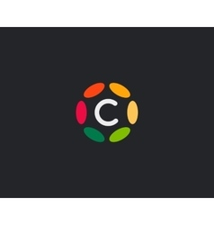 Color letter C logo icon design Hub frame vector image