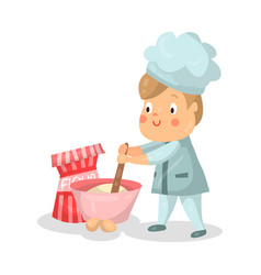 Cute cartoon little boy chef character with mixing vector