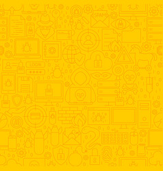 Cyber security yellow line pattern vector