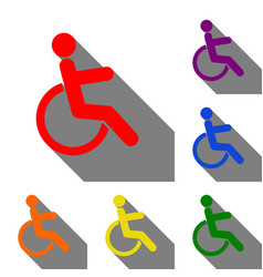 disabled sign set of red orange vector image vector image