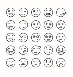 Flat and line emoticon face icons set vector