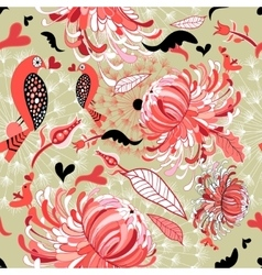 Floral pattern with birds in love vector