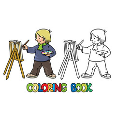 Funny artist or painter coloring book vector