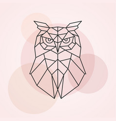 Geometric head of an owl abstract vector