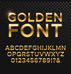 Golden glossy font or gold alphabet yellow vector