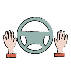 hands driver with steering wheel vector image