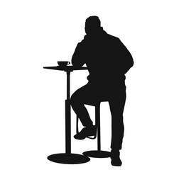 man silhouette sitting at a table in the cafe bar vector image vector image