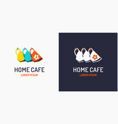 modern minimalistic logo for a home cafe label vector image