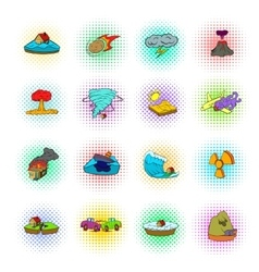 Natural disaster icons set pop-art style vector image