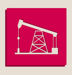Oil drilling rig sign grayscale version vector
