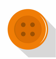 Orange sewing button icon flat style vector