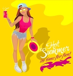 Summergirl with fizzy water vector