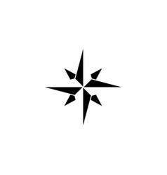 Wind rose solid icon navigation and compass vector
