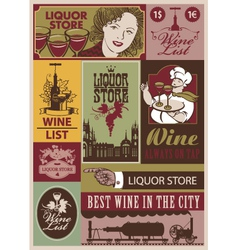 Wine retro set vector