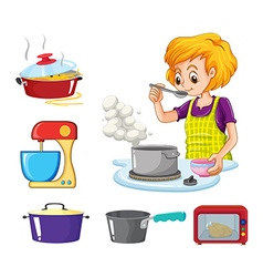 Woman cooking and other equipment vector