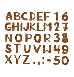 Wood tree texture font alphabet vector