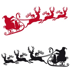Santa with sleigh and reindeers vector image