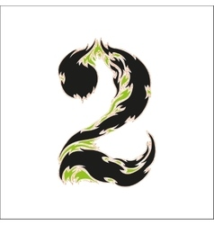 Fiery font black and green number 2 on white vector