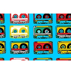 seamless pattern with cassettes vector image