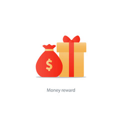 Yellow gift box and money bag reward concept bonus vector