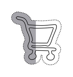 Sticker contour supermarket shopping cart icon vector