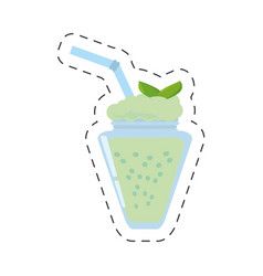 Smoothie mint fresh drink cut line vector