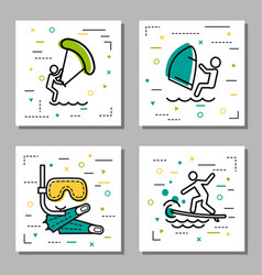 Four sea water activity linear icons vector