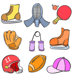 Object sport equipment doodle style vector